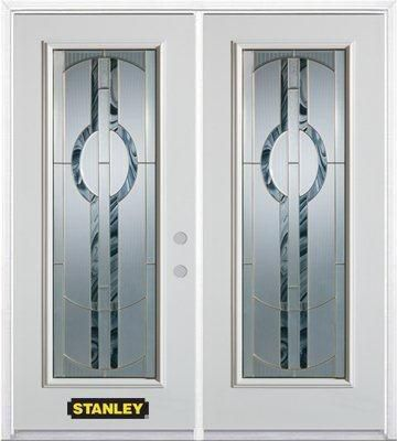 66-inch x 82-inch Stephany Full Lite White Double Steel Door with Astragal and Brickmould