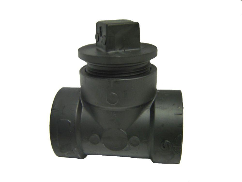 ABS DWV 4x3x4 Cleanout Tee w/Plug HxHxC/O