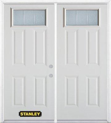 66-inch x 82-inch Rectangular Lite 4-Panel White Double Steel Door with Astragal and Brickmould