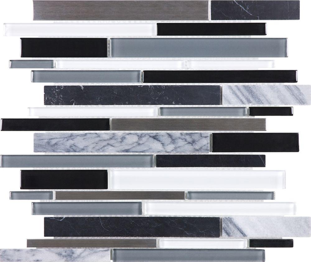 Random Strip Mosaic Tile in Cool Carbon