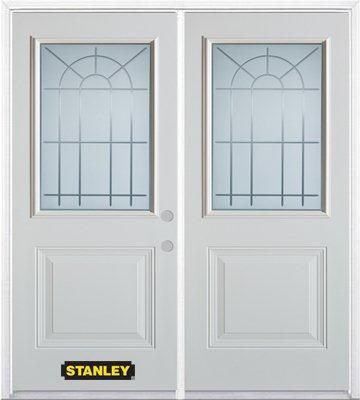 74-inch x 82-inch Chablis 1/2-Lite 1-Panel White Double Steel Door with Astragal and Brickmould