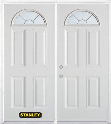 Porte dentrée double en acier préfini blanc, munie de quatre panneaux et dun verre en évantail, 6...