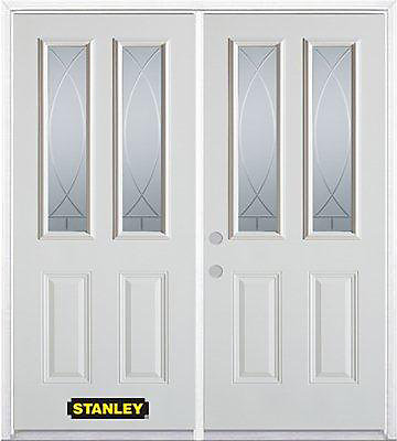 75 inch x 82.375 inch Bourgogne 2-Lite 2-Panel Prefinished White Right-Hand Inswing Steel Prehung Double Door with Astragal and Brickmould