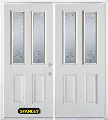 75 inch x 82.375 inch Bourgogne 2-Lite 2-Panel Prefinished White Left-Hand Inswing Steel Prehung Double Door with Astragal and Brickmould