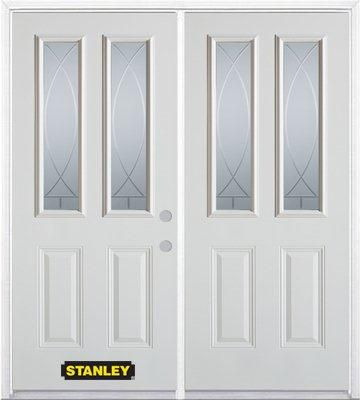 66-inch x 82-inch Bourgogne 2-Lite 2-Panel White Double Steel Door with Astragal and Brickmould