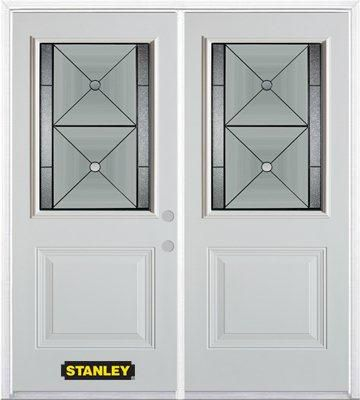 70-inch x 82-inch Bellochio 1/2-Lite 1-Panel White Double Steel Door with Astragal and Brickmould