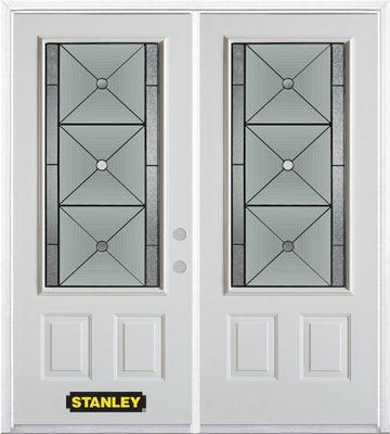 74-inch x 82-inch Bellochio 3/4-Lite 2-Panel White Double Steel Door with Astragal and Brickmould