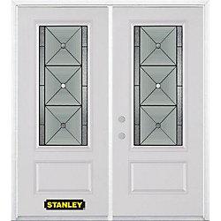 Stanley Doors Porte dentrée double en acier préfini blanc, munie d'un panneau et dun 3/4 verre, 74 po x 82 po avec astragale et moulure de brique