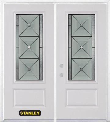 74-inch x 82-inch Bellochio 3/4-Lite 1-Panel White Double Steel Door with Astragal and Brickmould