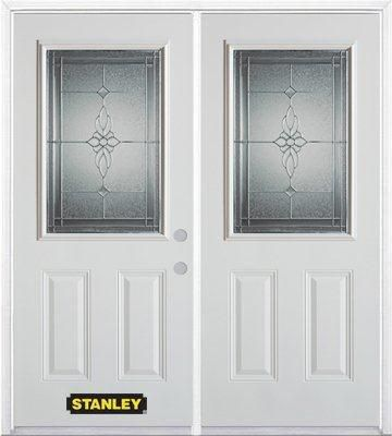 70 In. x 82 In. 1/2 Lite 2-Panel Pre-Finished White Double Steel Entry Door with Astragal and Bri...