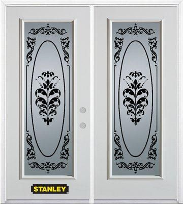 74-inch x 82-inch Renoir Full Lite White Double Steel Door with Astragal and Brickmould