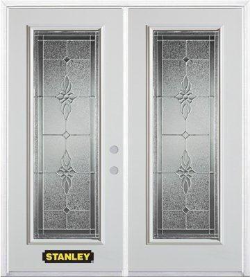 Porte dentrée double en acier préfini blanc, munie d'un panneau de verre, 70 po x 82 po avec astr...