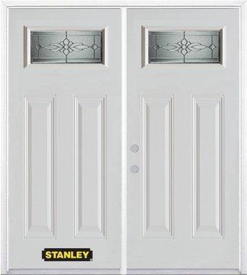 Porte dentrée double en acier préfini blanc, munie de deux panneaux et dun 1/4 verre, 74 po x 82 ...