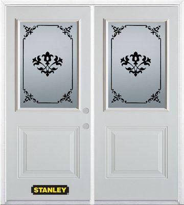 66-inch x 82-inch Renoir 1/2-Lite 1-Panel White Double Steel Door with Astragal and Brickmould