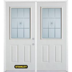 Stanley Doors 75 inch x 82.375 inch Beaujolais Half Lite 2-Panel Prefinished White Left-Hand Inswing Steel Prehung Double Door with Astragal and Brickmould