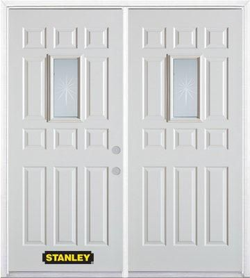 70 In. x 82 In. 9 In. x 19 In. Rectangular Lite 11-Panel Pre-Finished White Double Steel Entry Do...