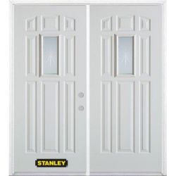 Stanley Doors 75 inch x 82.375 inch Beaujolais Rectangular Lite 9-Panel Prefinished White Left-Hand Inswing Steel Prehung Double Door with Astragal and Brickmould