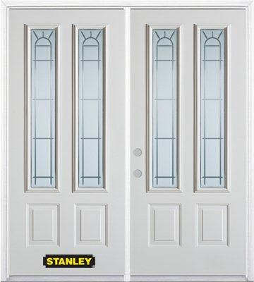 66-inch x 82-inch Chablis 2-Lite 2-Panel White Double Steel Door with Astragal and Brickmould