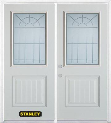 66-inch x 82-inch Chablis 1/2-Lite 1-Panel White Double Steel Door with Astragal and Brickmould