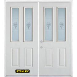 Stanley Doors 75 inch x 82.375 inch Beaujolais 2-Lite 2-Panel Prefinished White Right-Hand Inswing Steel Prehung Double Door with Astragal and Brickmould