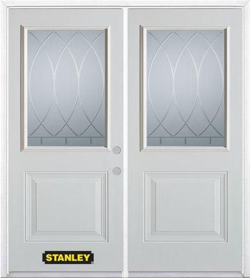 74-inch x 82-inch Bourgogne 1/2-Lite 1-Panel White Double Steel Door with Astragal and Brickmould