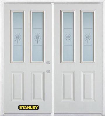 70-inch x 82-inch Beaujolais 2-Lite 2-Panel White Double Steel Door with Astragal and Brickmould