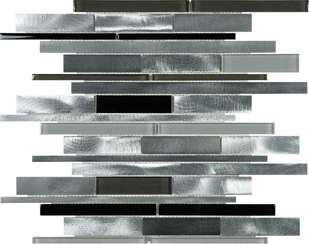 Random Strip Mosaic Blend Tile in Carbon