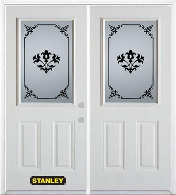 74-inch x 82-inch Renoir 1/2-Lite 2-Panel White Double Steel Door with Astragal and Brickmould