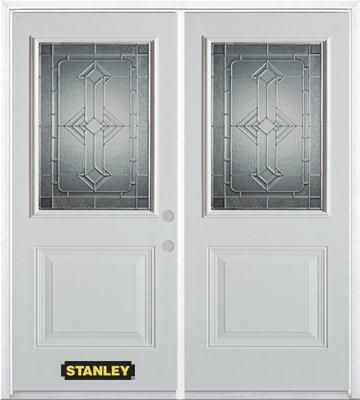 70-inch x 82-inch Neo-Deco 1/2-Lite 1-Panel White Double Steel Door with Astragal and Brickmould