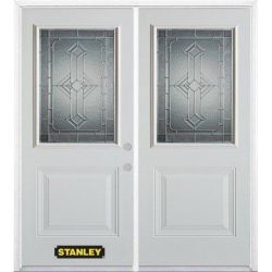 Stanley Doors 71 inch x 82.375 inch Neo Deco Zinc 1/2 Lite 1-Panel Prefinished White Left-Hand Inswing Steel Prehung Double Door with Astragal and Brickmould