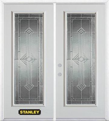 66-inch x 82-inch Neo-Deco Full Lite White Double Steel Door with Astragal and Brickmould