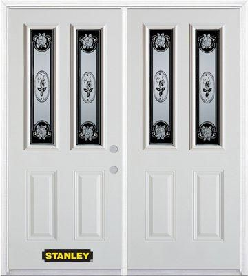 Stanley Doors 75 inch x 82.375 inch Mâtisse 2-Lite 2-Panel Prefinished White Left-Hand Inswing Steel Prehung Double Door with Astragal and Brickmould