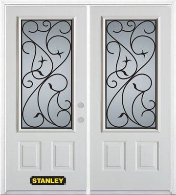66-inch x 82-inch Borders 3/4-Lite 2-Panel White Double Steel Door with Astragal and Brickmould