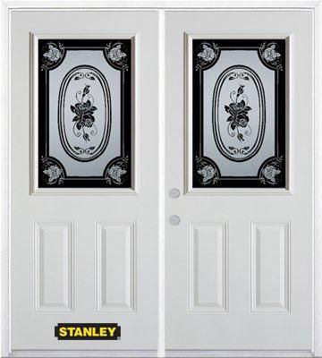 74-inch x 82-inch Mâtisse 1/2-Lite 2-Panel White Double Steel Door with Astragal and Brickmould