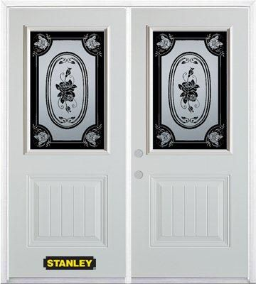 74-inch x 82-inch Mâtisse 1/2-Lite 1-Panel White Double Steel Door with Astragal and Brickmould