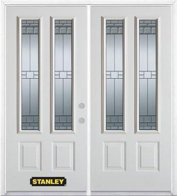 74-inch x 82-inch Seattle 2-Lite 2-Panel White Double Steel Door with Astragal and Brickmould