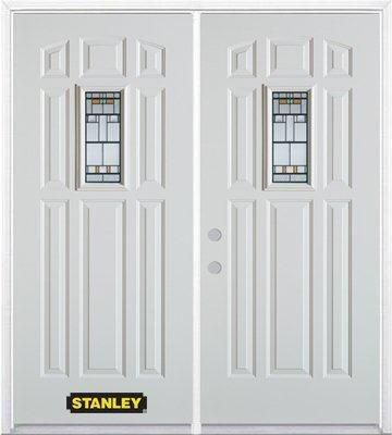 74-inch x 82-inch Rectangular Lite 8-Panel White Double Steel Door with Astragal and Brickmould