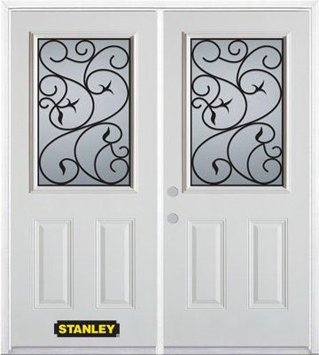 74 In. x 82 In. 1/2 Lite 2-Panel Pre-Finished White Double Steel Entry Door with Astragal and Bri...