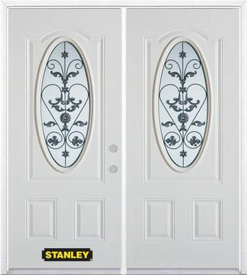 74-inch x 82-inch Blacksmith Oval 3/4-Lite White Double Steel Door with Astragal and Brickmould