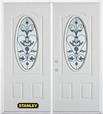 70 In. x 82 In. 3/4 Oval Lite Pre-Finished White Double Steel Entry Door with Astragal and Brickm...