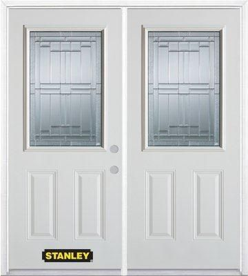 66-inch x 82-inch Seattle 1/2-Lite 2-Panel White Double Steel Door with Astragal and Brickmould
