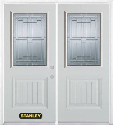 74-inch x 82-inch Seattle 1/2-Lite 1-Panel White Double Steel Door with Astragal and Brickmould