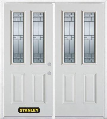 66-inch x 82-inch Seattle 2-Lite 2-Panel White Double Steel Door with Astragal and Brickmould
