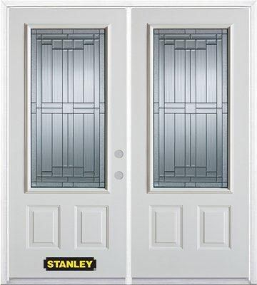 70-inch x 82-inch Seattle 3/4-Lite 2-Panel White Double Steel Door with Astragal and Brickmould
