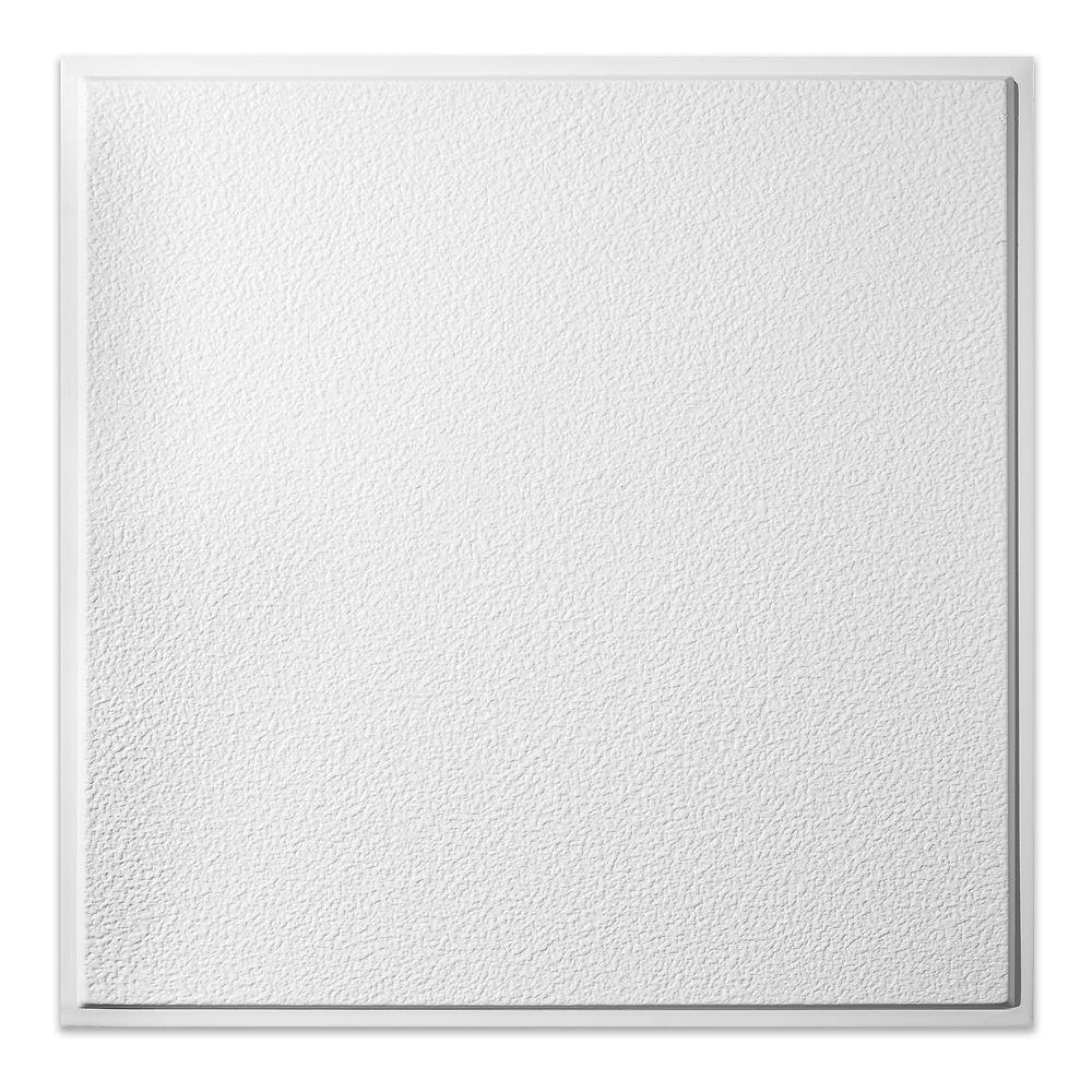 2  Feet x 2  Feet Stucco Pro Revealed Edge White Lay In Ceiling Tile