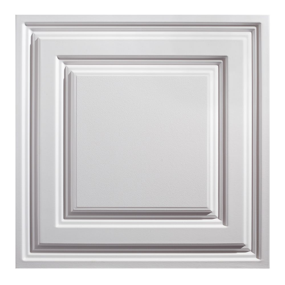 2  Feet x 2  Feet Icon Relief White Lay In Ceiling Tile