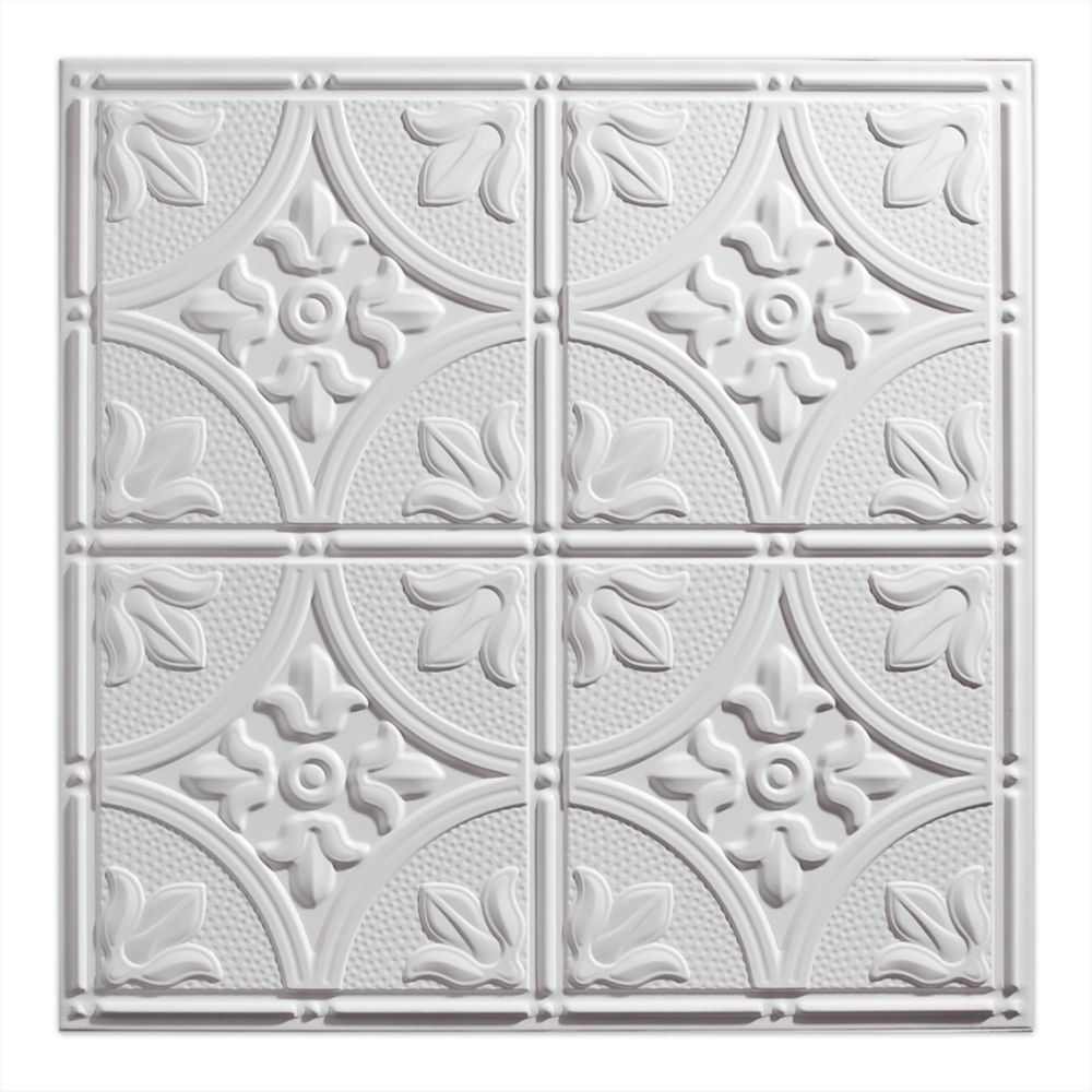 Genesis 2  Feet x 2  Feet Antique White Lay In Ceiling Tile