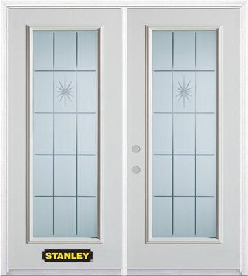 74-inch x 82-inch Beaujolais Full Lite White Double Steel Door with Astragal and Brickmould