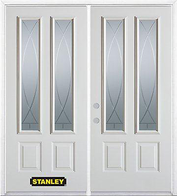 75 inch x 82.375 inch Bourgogne 2-Lite 2-Panel Prefinished White Right-Hand Inswing Steel Prehung Double Door with Astragal and Brickmould - ENERGY STAR®