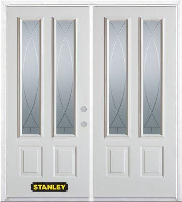 74-inch x 82-inch Bourgogne 2-Lite 2-Panel White Double Steel Door with Astragal and Brickmould